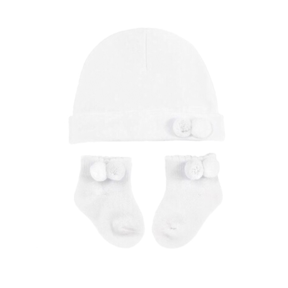 Double Pom Pom Cotton Hat & Socks Set - White