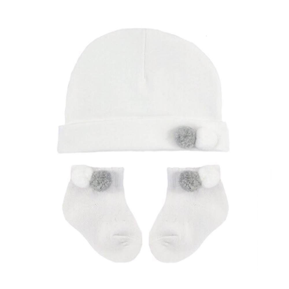 Double Pom Pom Cotton Hat & Socks Set - White/Grey