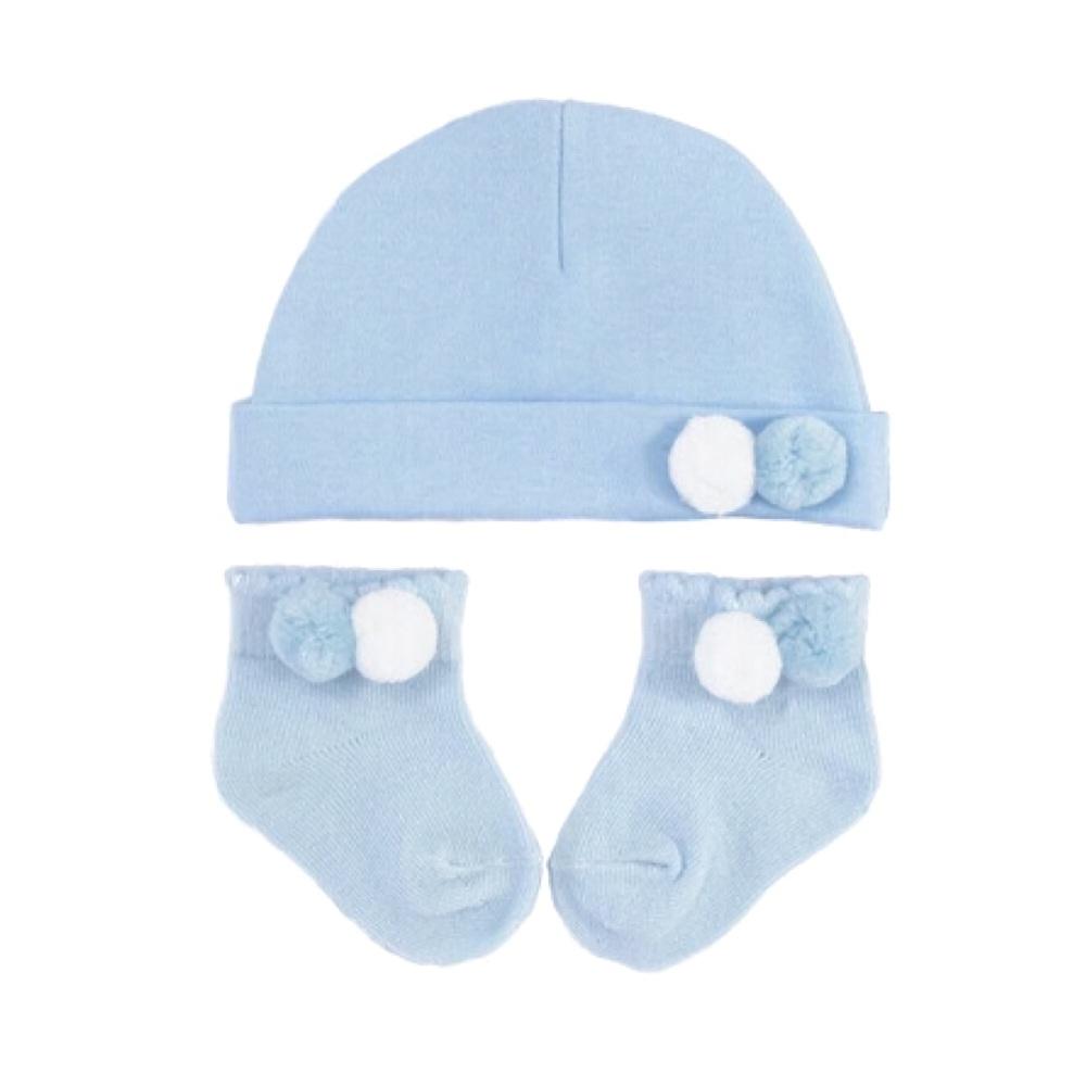 Double Pom Pom Cotton Hat & Socks Set - Blue/White