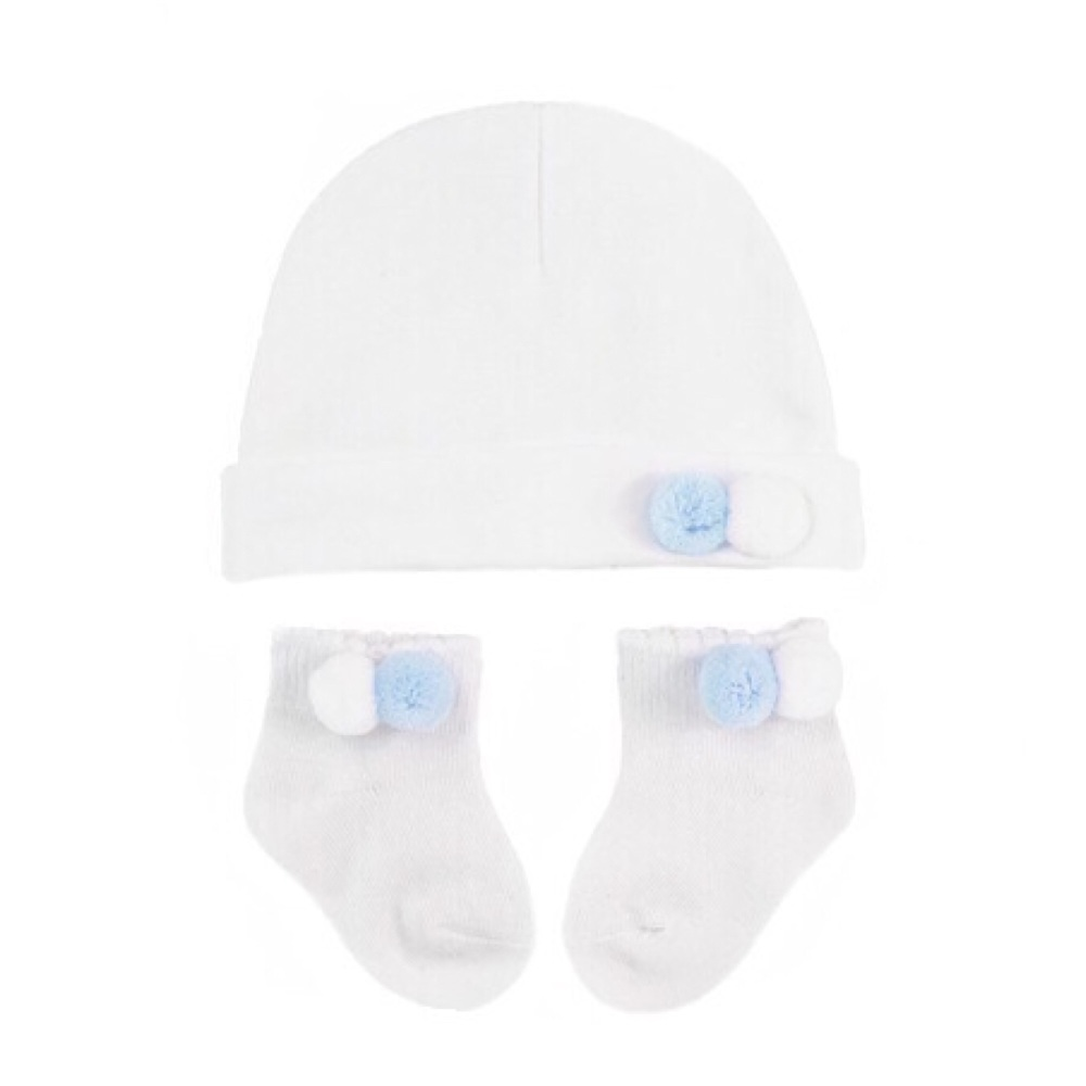 Double Pom Pom Cotton Hat & Socks Set - White/Blue