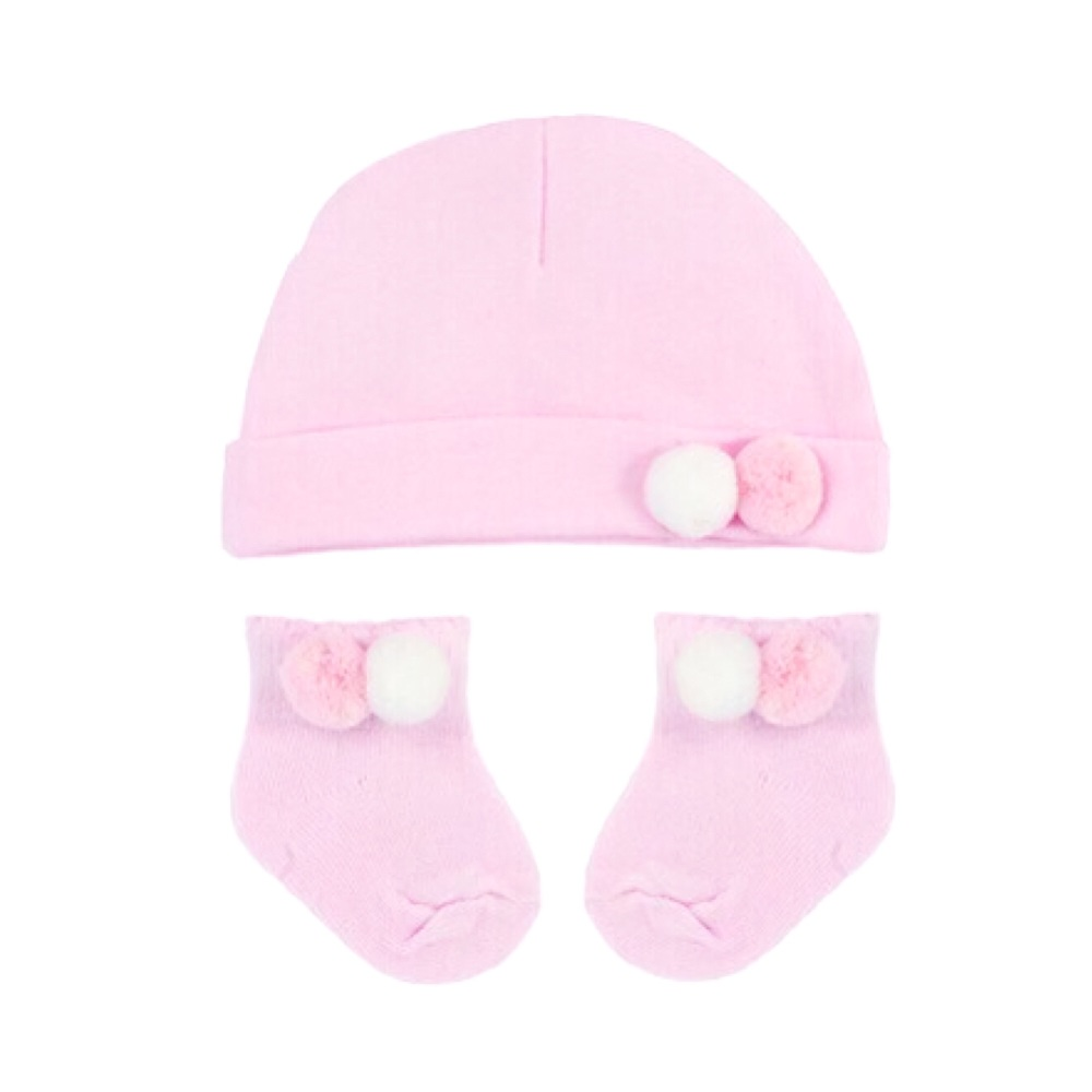 Double Pom Pom Cotton Hat & Socks Set - Pink/White