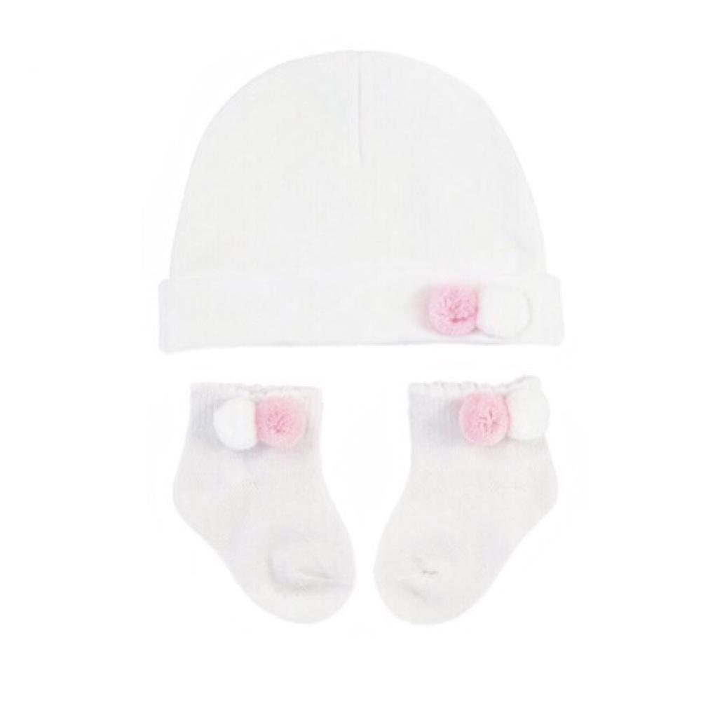 Double Pom Pom Cotton Hat & Socks Set - White/Pink