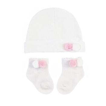 Double Pom Pom Cotton Hat & Socks Set - White/Pink