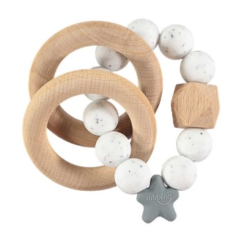 Stellar Natural Wood Teething Toy – Speckled