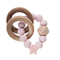 Stellar Natural Wood Teething Toy – Baby Pink