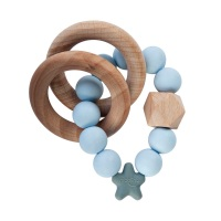 Stellar Natural Wood Teething Toy – Soft Blue