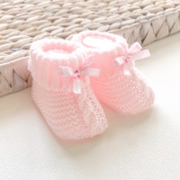 Cable Knit Booties With Bow - Pink