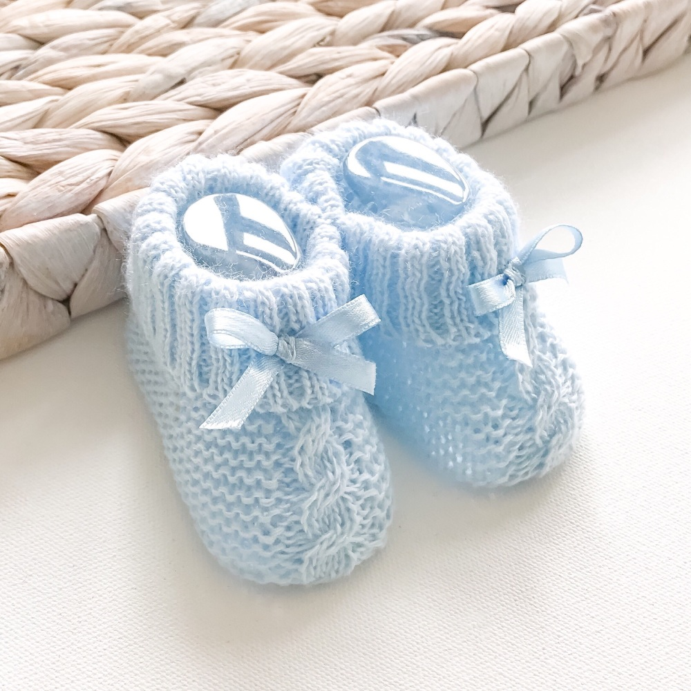 Cable Knit Booties With Bow - Blue