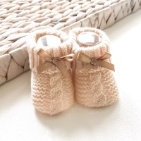 Cable Knit Booties With Bow - Beige
