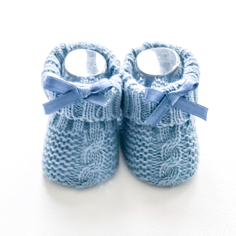Cable Knit Booties With Bow - Cyan Blue