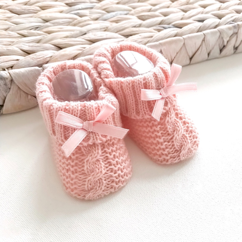 Cable Knit Booties With Bow - Rose