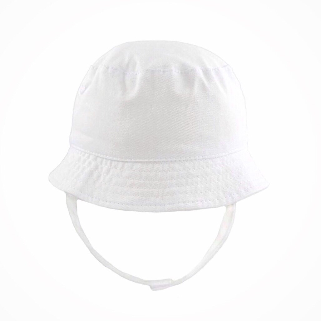Summer Hat With Strap - White