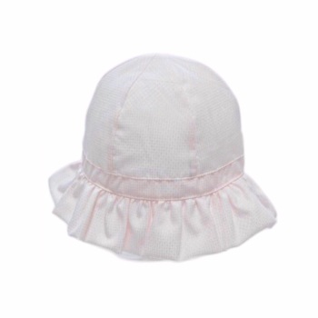 Frilly Brim Summer Hat With Strap - Pink
