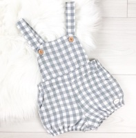 Ellis Check Dungaree Romper - Grey