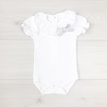 Frill Neck Bodysuit With Bow - Grey