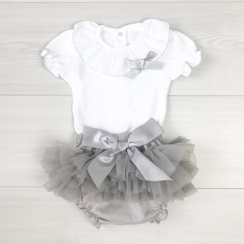 Frill Neck Bodysuit & Tutu Set - Grey
