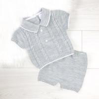 Archer Knitted Polo Top & Shorts Set - Grey