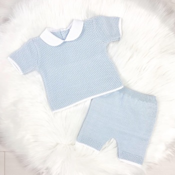 Nate Knitted Top & Shorts Set - Blue