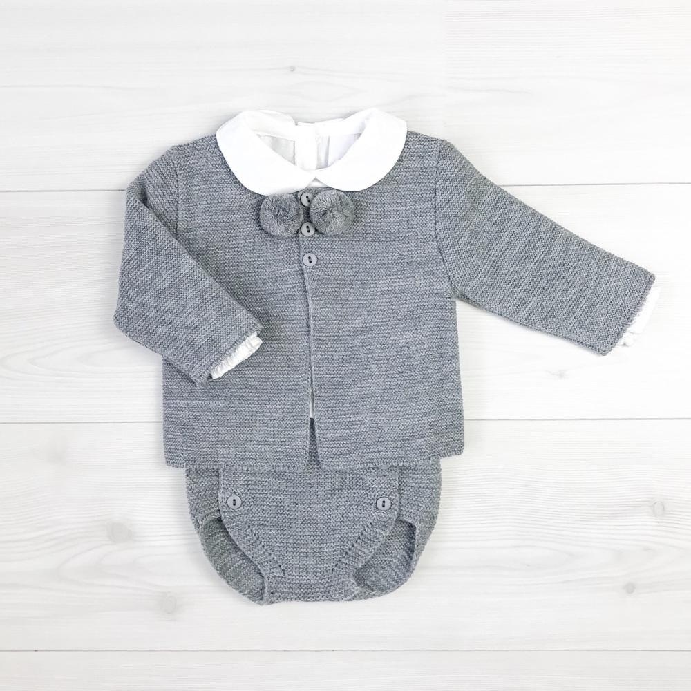 Hayden Knitted Pom Pom Set - Grey