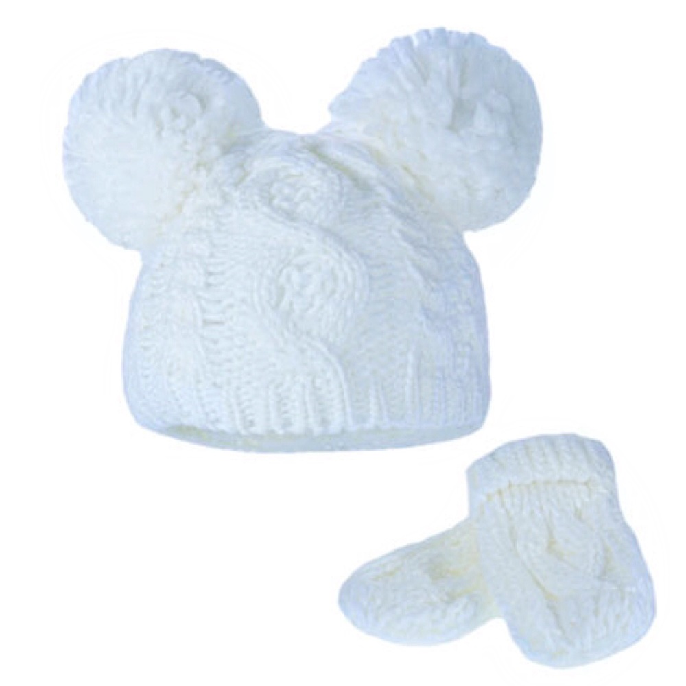 Double Pom Pom Hat & Mittens Set - Ivory