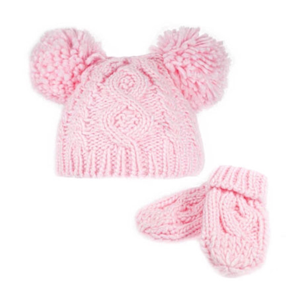 Double Pom Pom Hat & Mittens Set - Pink