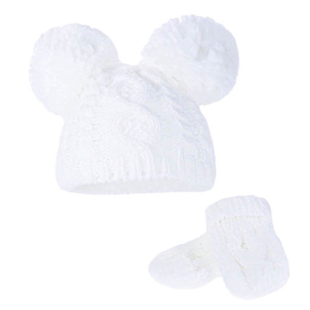 Double Pom Pom Hat & Mittens Set - White