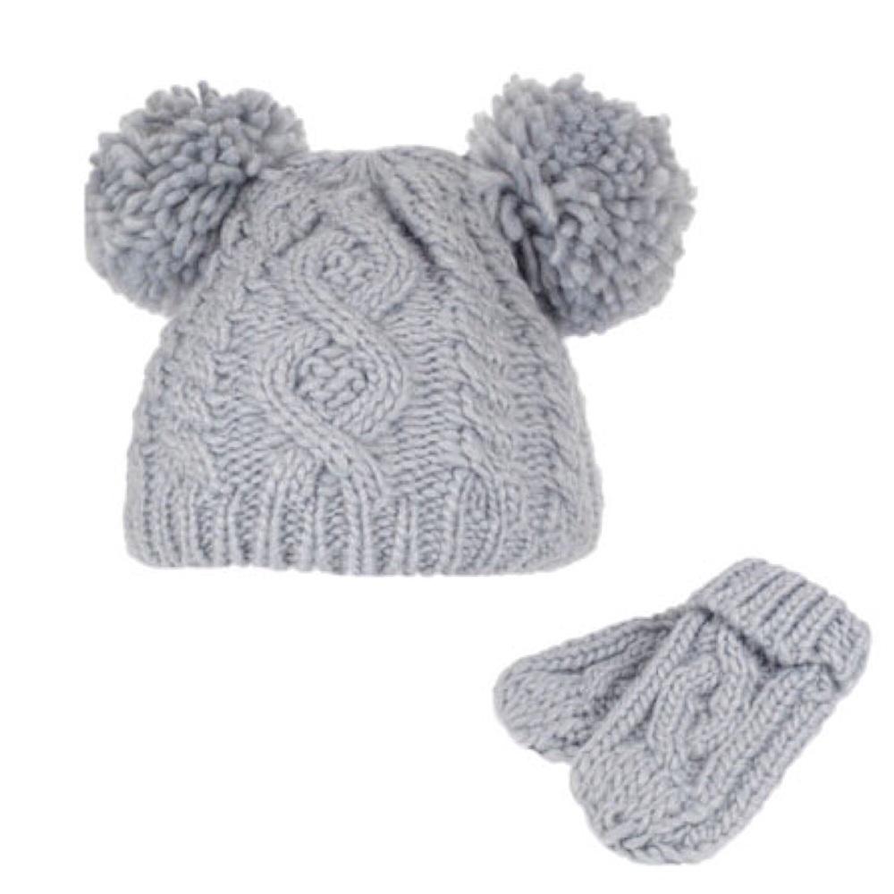 Double Pom Pom Hat & Mittens Set - Grey
