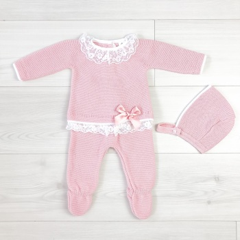 Leonie Lace Frill Jumper & Leggings Set - Rose