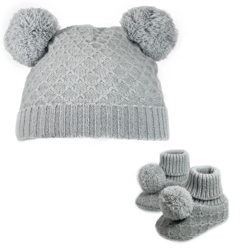 Double Pom Pom Hat & Booties Set - Grey