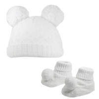Double Pom Pom Hat & Booties Set - White
