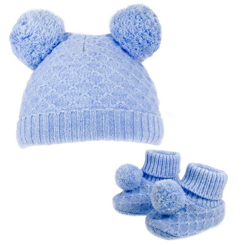 Double Pom Pom Hat & Booties Set - Blue