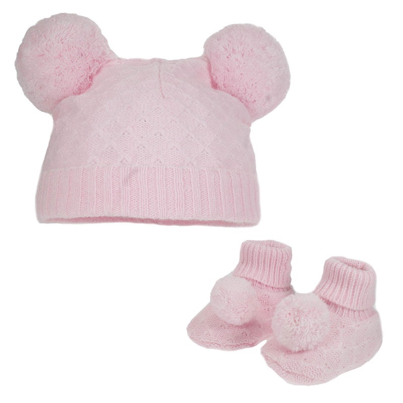 Double Pom Pom Hat & Booties Set - Pink
