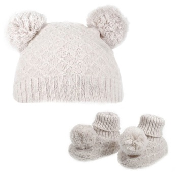 Double Pom Pom Hat & Booties Set - Beige