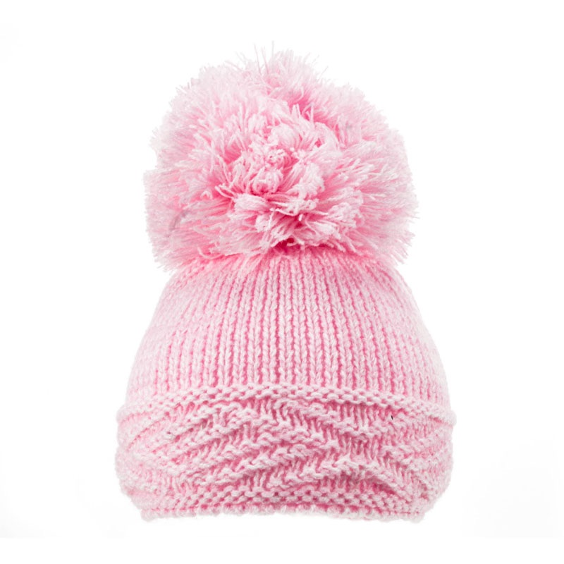 Large Argyle Knit Pom Pom Hat - Pink