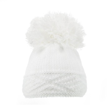 Large Argyle Knit Pom Pom Hat - White