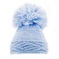 Large Argyle Knit Pom Pom Hat - Blue
