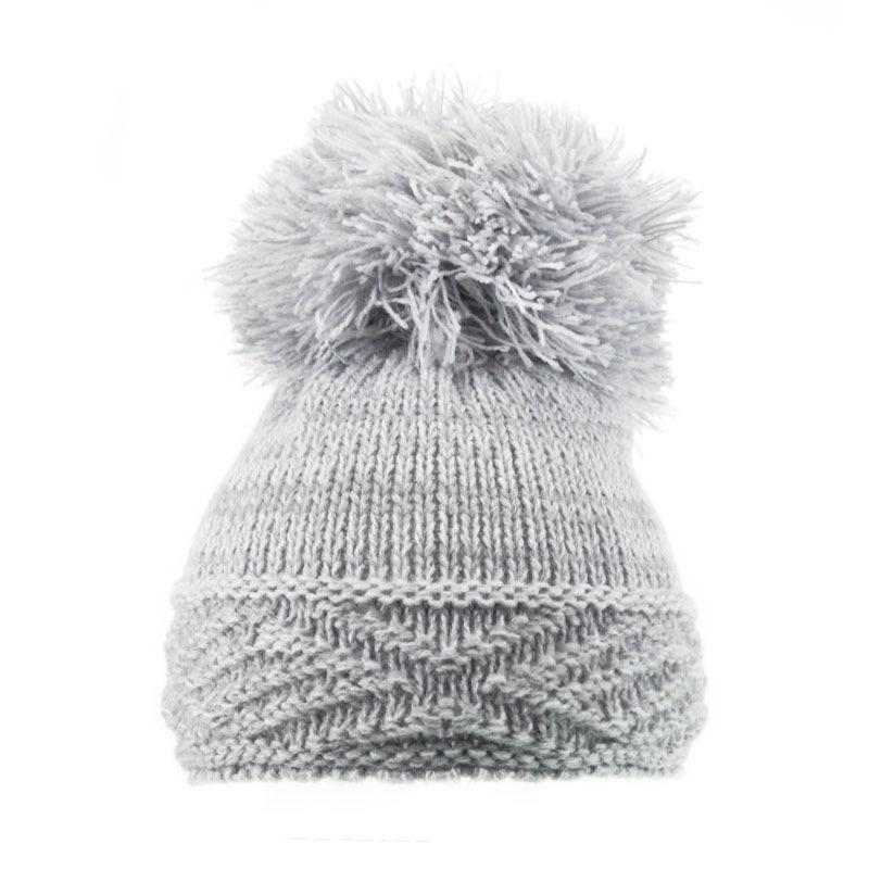 Large Argyle Knit Pom Pom Hat - Grey