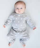 Star Knitted Romper - Grey