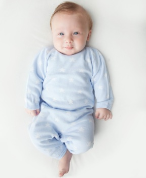 Star Knitted Romper - Blue