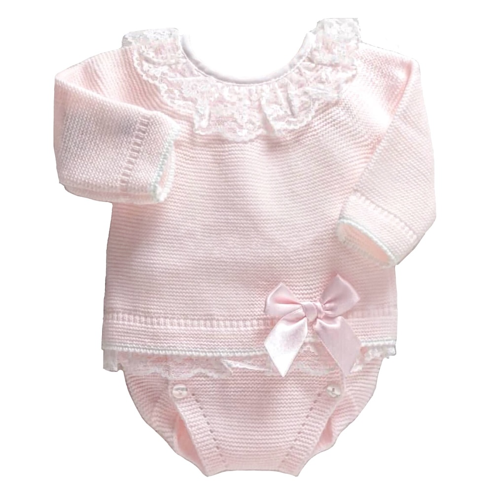 Leonie Lace Frill Jumper & Pants Set - Pink