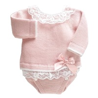 Leonie Lace Frill Jumper & Pants Set - Rose