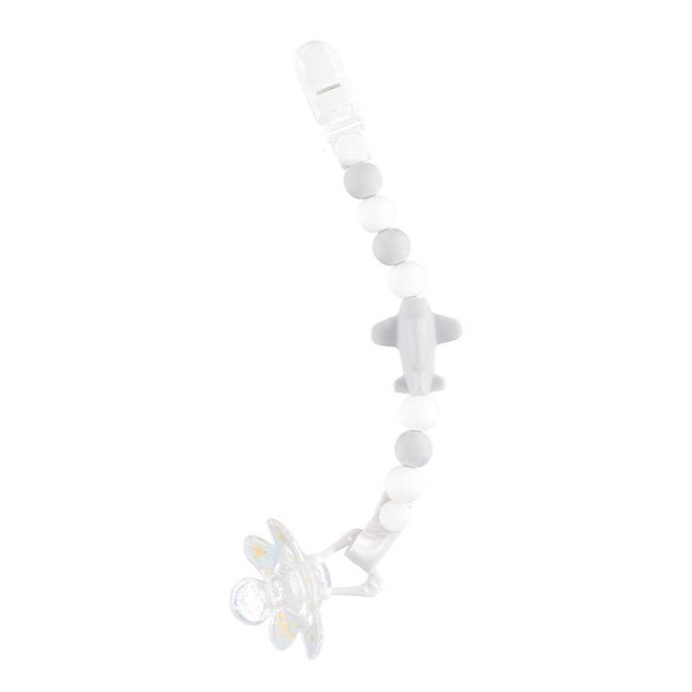 Nibbling Jetset Dummy Clip – Grey & White