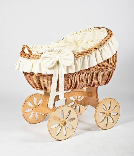 MJ Mark Bianca Uno Natural Crib - Spoke Wheels