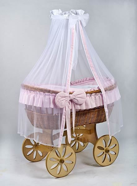 MJ Mark Ophelia Uno Natural Crib - Spoke Wheels