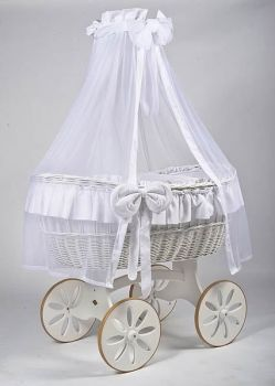 MJ Mark Ophelia Due White Crib - Spoke Wheels