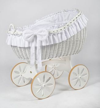 MJ Mark Bianca Due White Crib - Spoke Wheels