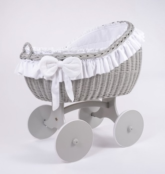 MJ Mark Bianca Quattro Grey Crib - Solid Wheels