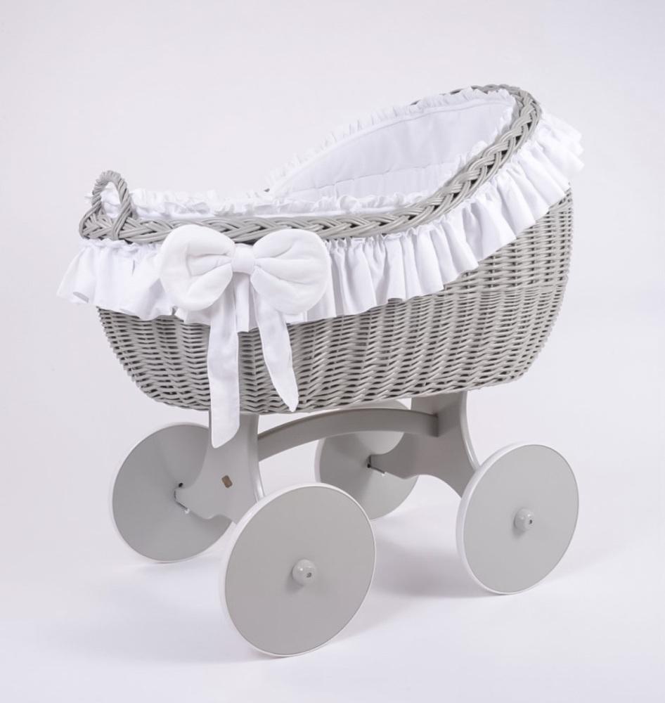 MJ Mark Bianca Quattro Grey Crib - Solid Wheels