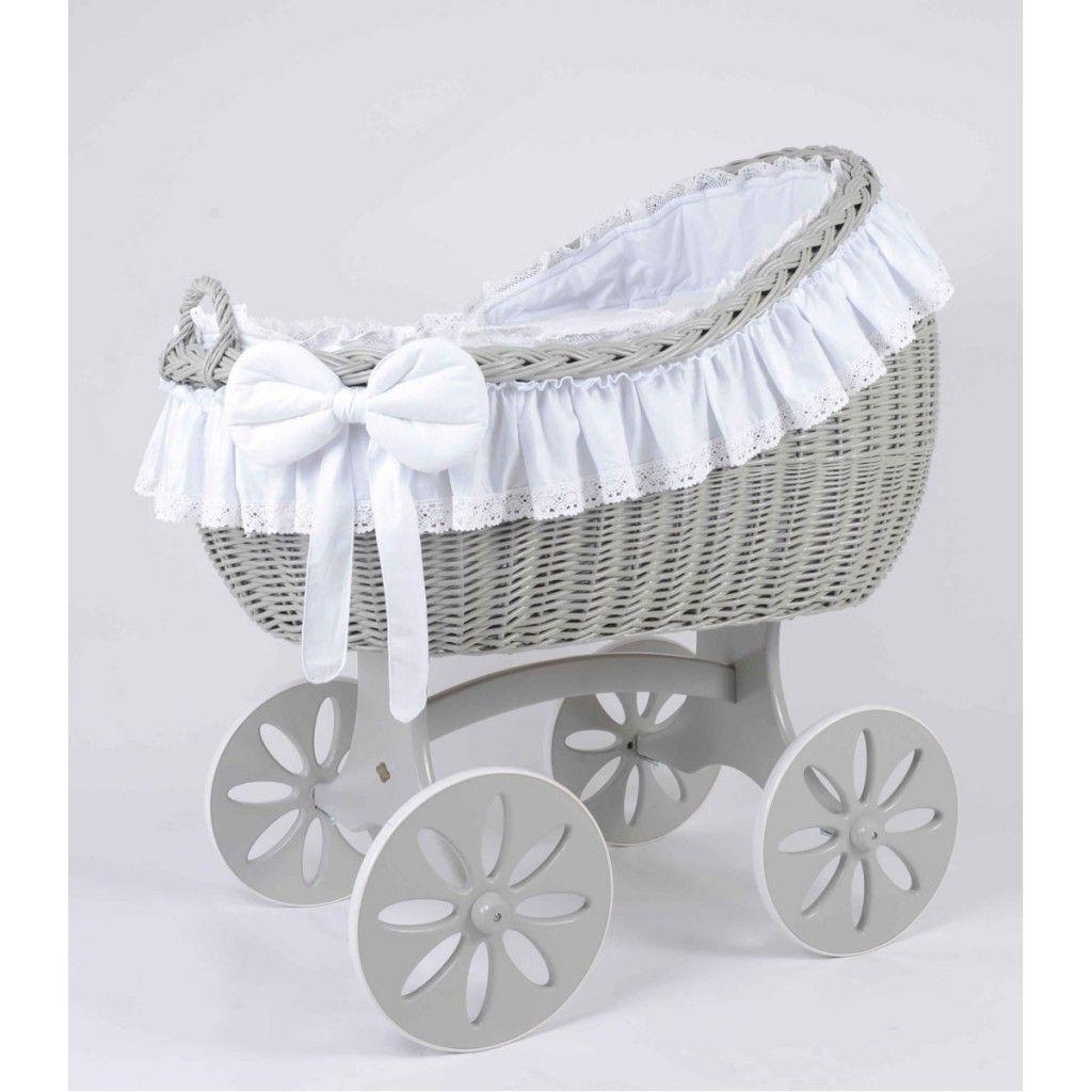 MJ Mark Bianca Quattro Grey Crib - Spoke Wheels