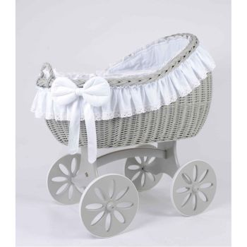 MJ Mark Bianca Quattro Grey Crib - Spoke Wheels